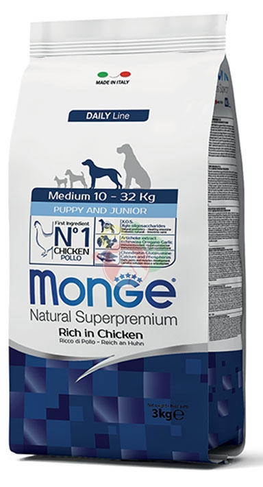 Monge Natural Superpremium DailyLine Medium Puppy & Junior Pollo 3Kg Cuccioli
