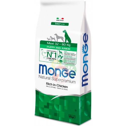 Monge Natural Superpremium Daily Line Maxi Puppy & Junior Pollo Crocchette 12Kg