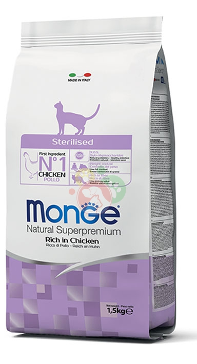 Monge Natural Superpremium Sterilised Gatti Adulti Crocchette Pollo Da 1.5Kg