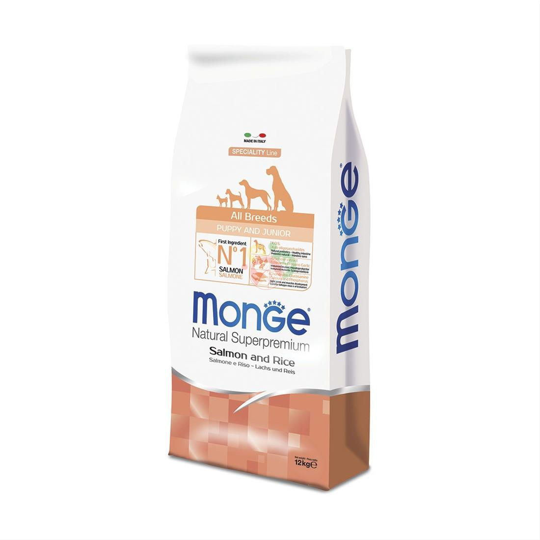 Monge Natural Superpremium Speciality Line All Breeds Puppy Salmone e Riso 12Kg