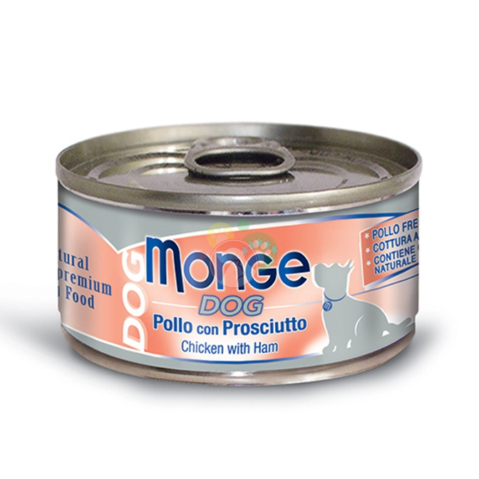 Monge Dog Natural Pollo Con Prosciutto Lattina Da 95g Cani Adulti
