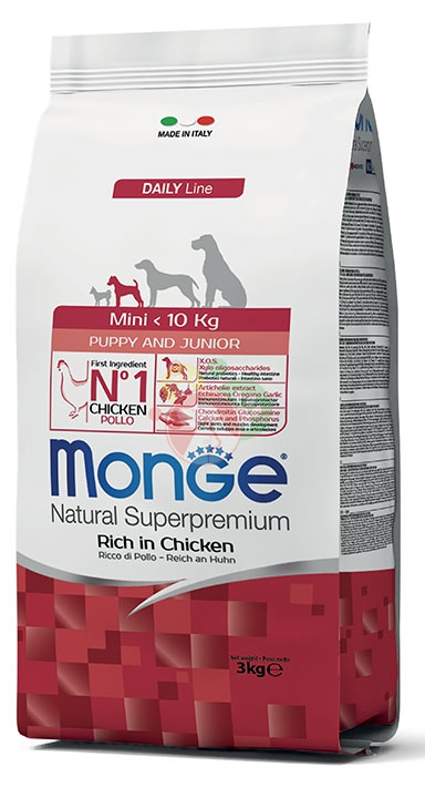 Monge Natural Superpremium DailyLine Mini Puppy & Junior Pollo Crocchette Da 3Kg