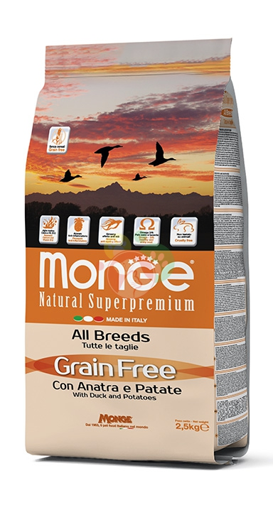 Monge Grain Free Con Anatra e Patate All Breeds Da 2.5Kg Cani Adulti