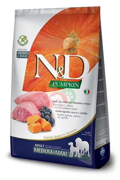 Farmina N&D Pumpkin Agnello,Mirtillo Adult Medium e Maxi 2.5Kg Crocchette Cani