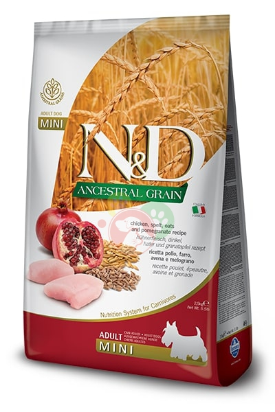 Farmina N&D Ancestral Grain Pollo Melograno Mini Adult Crocchette 2.5Kg Cani