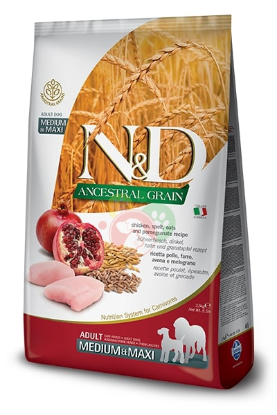 Farmina N&D Ancestral Grain Pollo Melograno Adult Medium Maxi Crocchette 2.5Kg